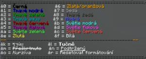 RedCraft - colors, barevné psaní